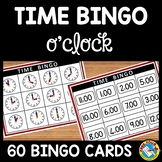 TELLING TIME TO THE HOUR BINGO GAME ACTIVITY FOR KINDERGARTEN O'CLOCK PRINTABLE