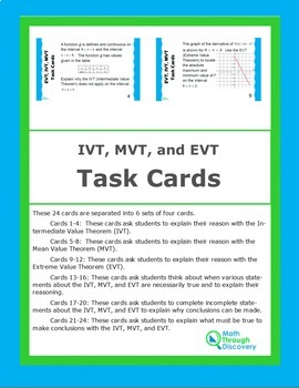 Calculus:  IVT, EVT, and MVT Task Cards