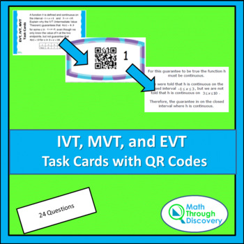 Calculus:  IVT, EVT, and MVT Task Cards with QR Codes