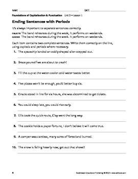 End Punctuation and Apostrophes - Capitalization & Punctuation Unit 3 (Gr 4-8)