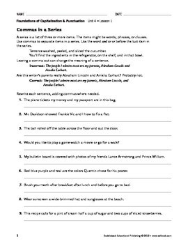Commas and Semicolons - Capitalization & Punctuation Unit 4 (Gr 9-12)