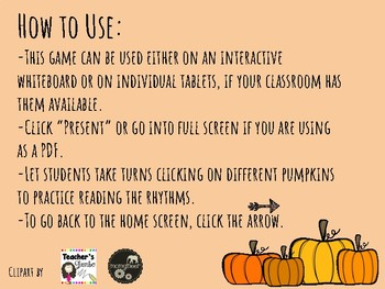 IWB Game: Pumpkin Patch Rhythms (Quarter Note, Quarter Rest, Eighths)