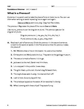 Parts of Speech - Grammar & Usage Unit 1 (Gr 4-8)
