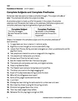Parts of Sentences - Grammar & Usage Unit 2 (Gr 4-8)