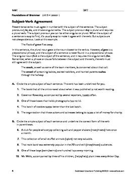 Agreement Problems & Solutions - Grammar & Usage Unit 5 (Gr 9-12)