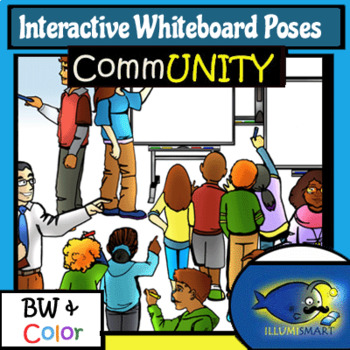 IWB Students Writing Poses with separate White Boards! 54 Pc. BW/Color!