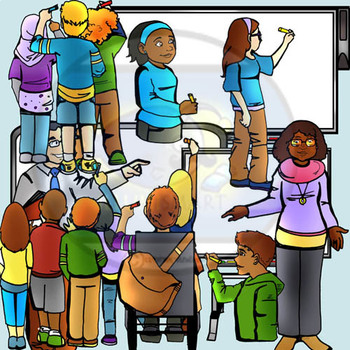 IWB Students Writing on White Boards and Poses Bundle! 100 Pc. BW/Color!