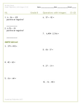 IXL Grade 8 Skills Check Operations with Integers C1-C8