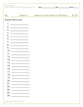 IXL Grade 8 Skills Check Operations with Rational Numbers E1-E9