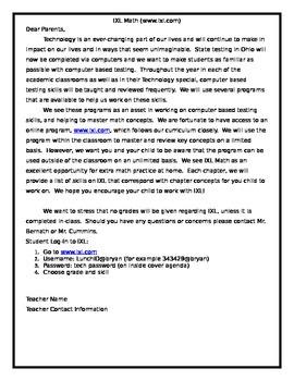 IXL Introduction Letter for Parents