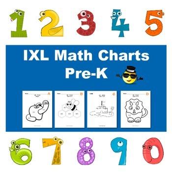 IXL Math Progress Coloring Page Charts for Pre-K