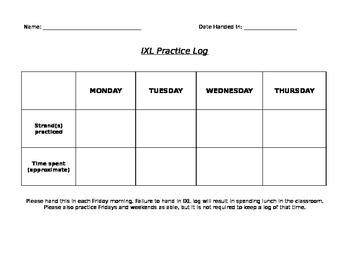 IXL Practice Log