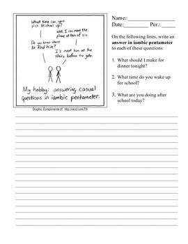 Iambic Pentameter Teaching Resources | Teachers Pay Teachers