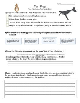 Ibis: A True Whale Story - Text Talk- Vocabulary, Comprehension, Test Prep