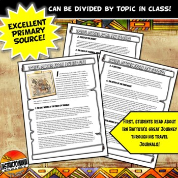 Ibn Batutta's Diaries A Travel Blog CCS Writing and Literacy Activity Set
