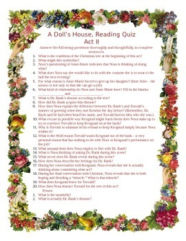 Ibsen's A Doll's House, Act II Reading Quiz
