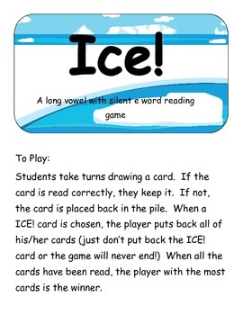Ice!- A Long vowel with Silent e  Zap game