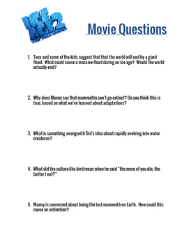 Ice Age 2: The Meltdown Movie Questions