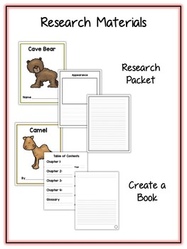 Ice Age Animal Research Project - 11 Types, Vocab Cards, Packet, Book & More
