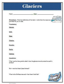 Ice Age Glaciers Worksheet Activity with Vocabulary, Answer Key