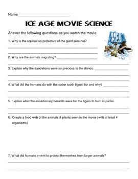 ice age movie questions ecology review by scienceisfun tpt. Black Bedroom Furniture Sets. Home Design Ideas