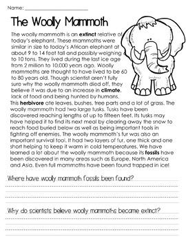 Ice Age Non-Fiction Mini-Unit FREEBIE