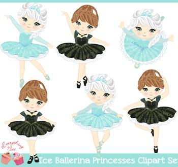 Ice Ballerina Princesses Frozen Elsa Ana Ballerina Princesses Clipart Set