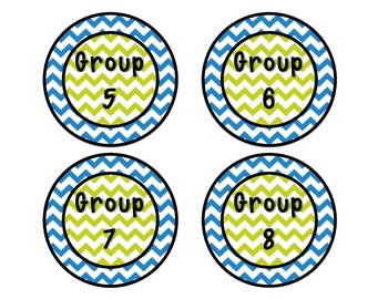 Ice Blue and Lime Chevron Group Signs