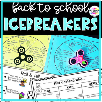 Back to School Ice Breaker Activities ~ Fidget Spin & Share, Find a Friend &more