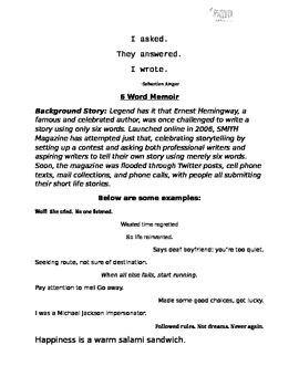 Ice Breaker Activity- 6 Word Memoir