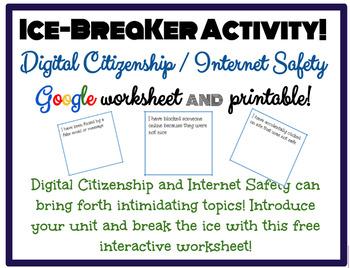 Ice Breaker Activity: Digital Citizenship, Internet Safety, Cyber-bullying!