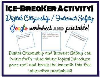 image relating to Free Printable Internet Safety Worksheets referred to as Ice Breaker Video game: Electronic Citizenship, World-wide-web Protection, Cyber-bullying!