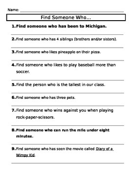 Ice Breaker Activity - Find Someone Who...