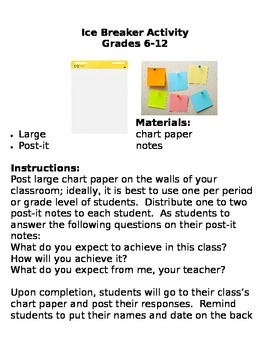 Ice Breaker Activity: Grades 6-12