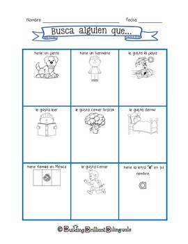 Ice Breaker Activity in Spanish for Bilingual Primary Classrooms
