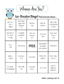 Ice Breaker Bingo Activity