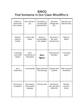 Ice Breaker - Bingo:  Find Someone Who...