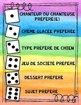 Dice game brise glace French