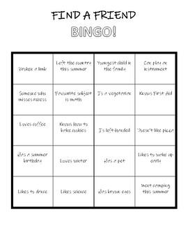 Ice Breaker - Find A Friend BINGO!