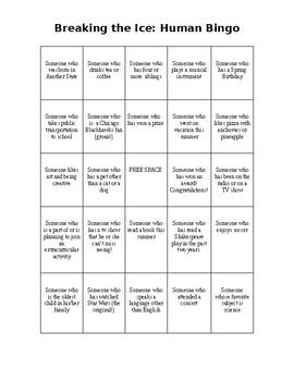 Ice Breaker: Human Bingo
