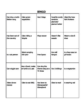 Ice Breaker Person Bingo Sheet