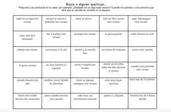 Ice Breaker: Spanish Oral Activity Busca a alguien...