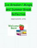 First Day of School : Ice-Breaker & Summer Break Reflection
