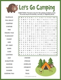 CAMPING THEMED Word Search Puzzle Worksheet Activity - End