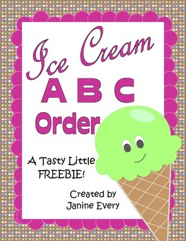 ABC Order Ice Cream-Themed (FREEBIE)