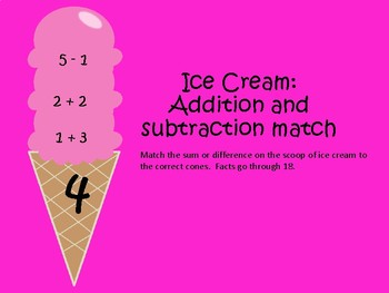 Ice Cream Addition and Subtraction Match