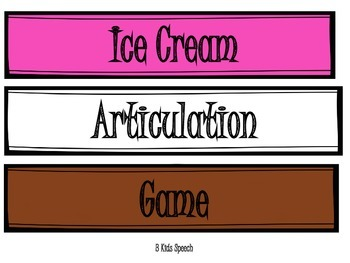 Ice Cream Articulation Game