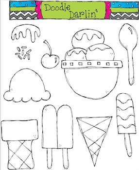 Ice Cream BLACKLINE Clipart Set