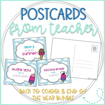 Ice Cream Back to School and End of the Year Thank You Postcards