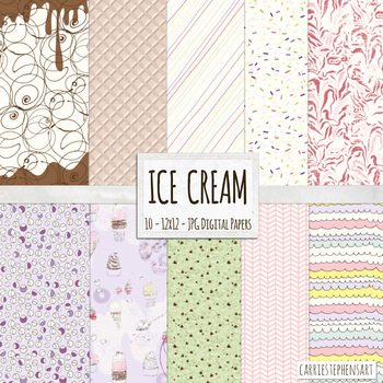 Ice Cream Background Papers, Summer Food Delight